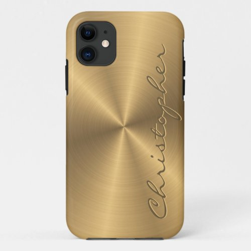 Personalized Gold Metallic Radial Texture Phone Case