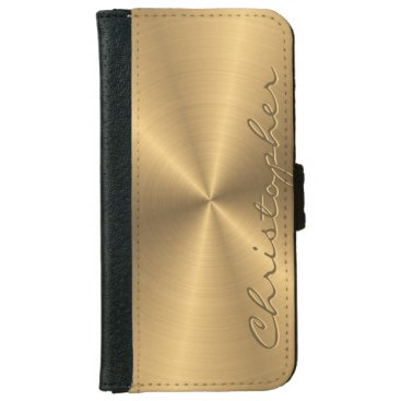Personalized Gold Metallic Radial Texture Wallet Phone Case For iPhone 6/6s