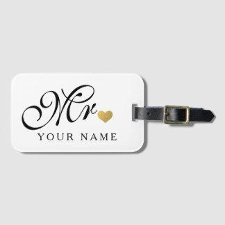 Personalized Gold Mr. Groom Husband Newlyweds Bag Tag