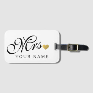 Personalized Gold Mrs. Wife Bride Newly Weds Bag Tag