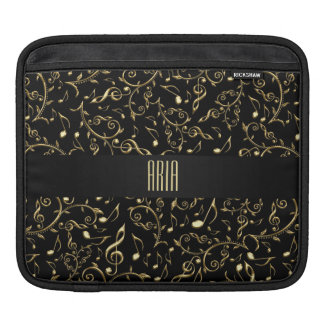 Personalized Gold Music Notes Black iPad Sleeve
