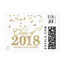 Personalized Gold Polka-dots Glitter Graduation Postage