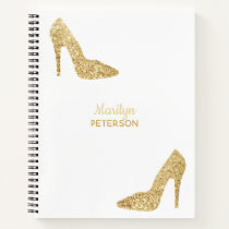 Personalized Gold Sequin High Heel Fashionista Notebook