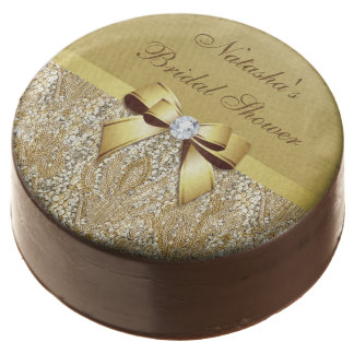 Personalized Gold Sequins Bow Bridal Shower Chocolate Covered Oreo