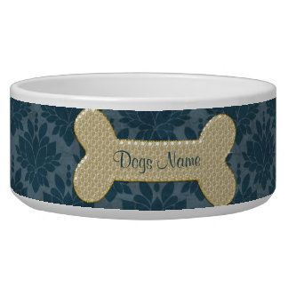Personalized gold shiny dog bone pet food bowl