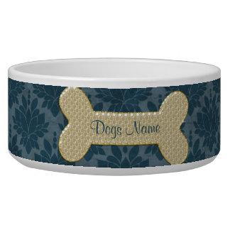 Personalized gold shiny dog bone pet food bowl