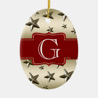 Personalized Gold Stars Pattern | Monogram Ceramic Ornament