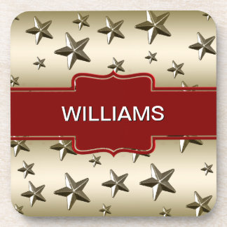 Personalized Gold Stars Pattern Starry Sparkle Drink Coaster