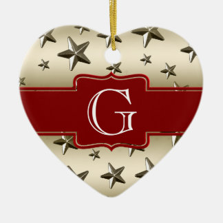 Personalized Gold Stars Pattern Starry Sparkle Double-Sided Heart Ceramic Christmas Ornament