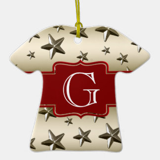 Personalized Gold Stars Pattern Starry Sparkle Double-Sided T-Shirt Ceramic Christmas Ornament