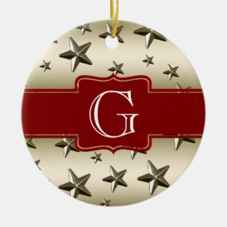 Personalized Gold Stars Pattern Starry Sparkle Double-Sided Ceramic Round Christmas Ornament