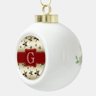 Personalized Gold Stars Pattern Starry Sparkle Ceramic Ball Christmas Ornament