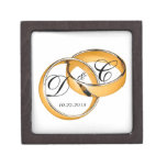 Personalized Gold Wedding Bands Jewerly/Gift Box Premium Keepsake Box