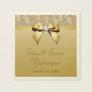 Personalized Gold Wedding Napkin