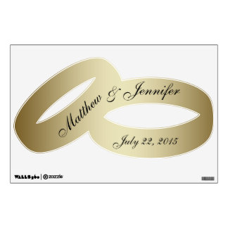 Personalized Gold Wedding Rings Wall Decal