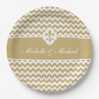 Personalized Gold White Fleur de Lis Chevron Paper Plate