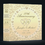 """Personalized Golden 50th Anniversary Gift Binder<br><div class=""""desc"""">Golden 50th anniversary custom gift binder. Great for photos,  scrapbooking,  memoirs,  poems,  stories and more.</div>"""