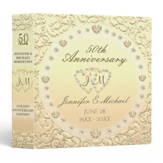 Personalized Golden 50th Anniversary Gift Binder