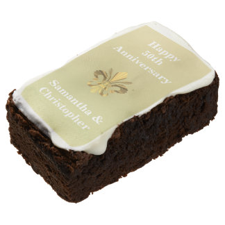 Personalized golden anniversary brownie