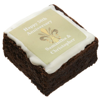 Personalized golden anniversary chocolate brownie