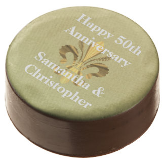 Personalized golden anniversary chocolate dipped oreo