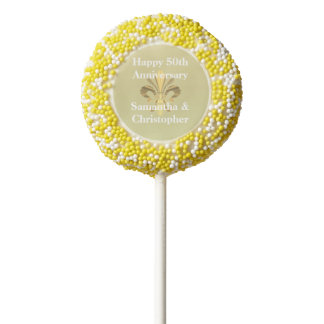 Personalized golden anniversary chocolate dipped oreo pop