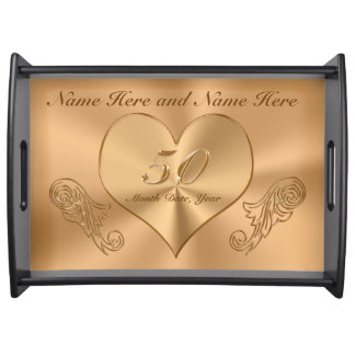 Special Gift For Parents 50th Wedding Anniversary : Golden Anniversary Serving Trays Golden Anniversary Food Tray ...