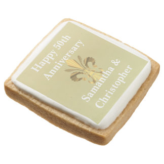 Personalized golden anniversary square shortbread cookie