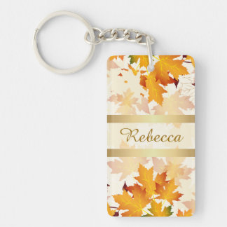 Personalized Golden Autumn Leaves Design Double-Sided Rectangular Acrylic Keychain