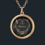 """Personalized Golden Heart Musical Notes Gold Finish Necklace<br><div class=""""desc"""">An elegant and stylish music lover design featuring the staff in the shape of a heart with various musical notes around it in a printed golden color with a pattern background of black and dark gray stripes. Easy to personalize by just changing the name in our easy to use template....</div>"""