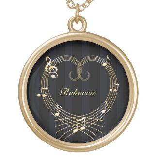 Personalized Golden Heart Musical Notes Gold Plated Necklace