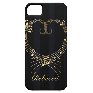 Personalized Golden Heart Musical Notes iPhone SE/5/5s Case