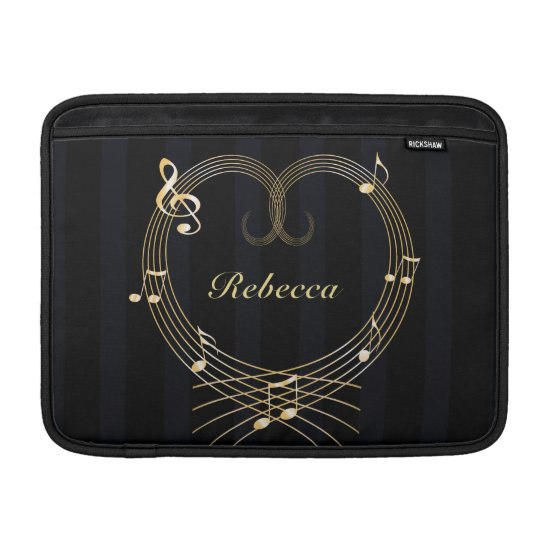 Personalized Golden Heart Musical Notes MacBook Air Sleeve