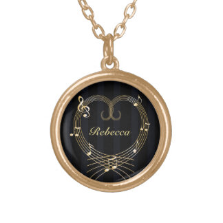 Personalized Golden Heart Musical Notes Round Pendant Necklace