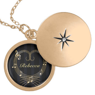 Personalized Golden Heart Musical Notes Round Locket Necklace