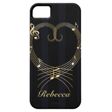Personalized Golden musical notes love heart iPhone 5 Case