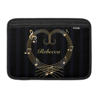 Personalized Golden musical notes love heart MacBook Sleeve