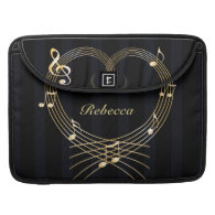 Personalized Golden musical notes love heart Sleeve For MacBook Pro