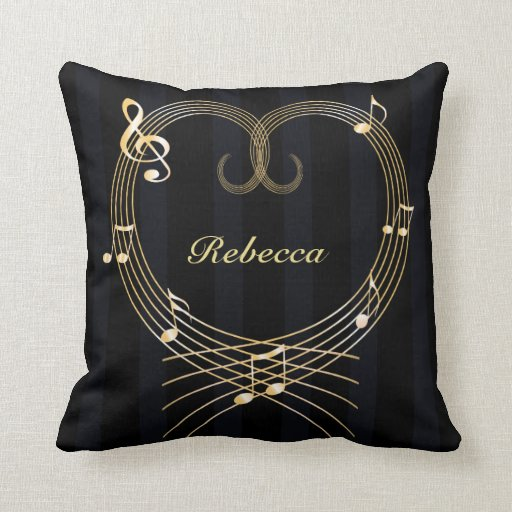 Personalized Golden musical notes love heart Throw Pillows