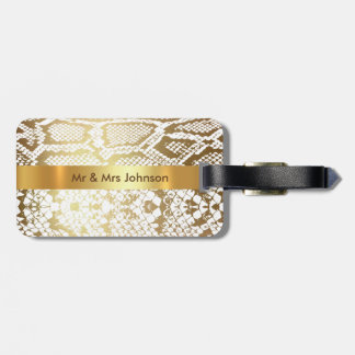 Personalized Golden Python Skin Luggage leather Luggage Tag