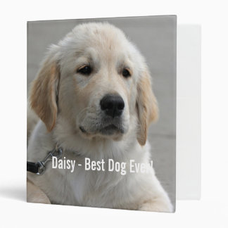 Personalized Golden Retriever Dog Photo and Name Binders