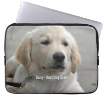 Personalized Golden Retriever Dog Photo and Name Computer Sleeve