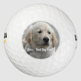 Personalized Golden Retriever Dog Photo and Name Golf Balls