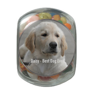 Personalized Golden Retriever Dog Photo and Name Jelly Belly Candy Jars