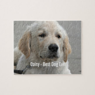 Personalized Golden Retriever Dog Photo and Name Jigsaw Puzzle