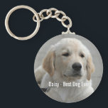"Personalized Golden Retriever Dog Photo and Name Keychain<br><div class=""desc"">Personalize this keepsake with your dog&#39;s or puppy&#39;s photo and name (or other pet or person&#39;s photo/name). Text reads &quot;Best Dog Ever&quot; or add your own text - We love Daisy (dog&#39;s name), dog&#39;s birthday or day of passing. Just click on &quot;customize&quot; to add your personalized text, change the font...</div>"