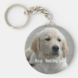 Personalized Golden Retriever Dog Photo and Name Keychain
