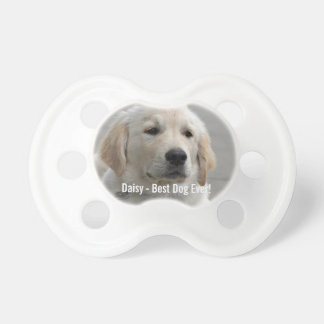 Personalized Golden Retriever Dog Photo and Name Pacifier
