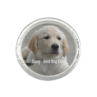 Personalized Golden Retriever Dog Photo and Name Photo Ring