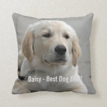 Personalized Golden Retriever Dog Photo and Name Throw Pillow